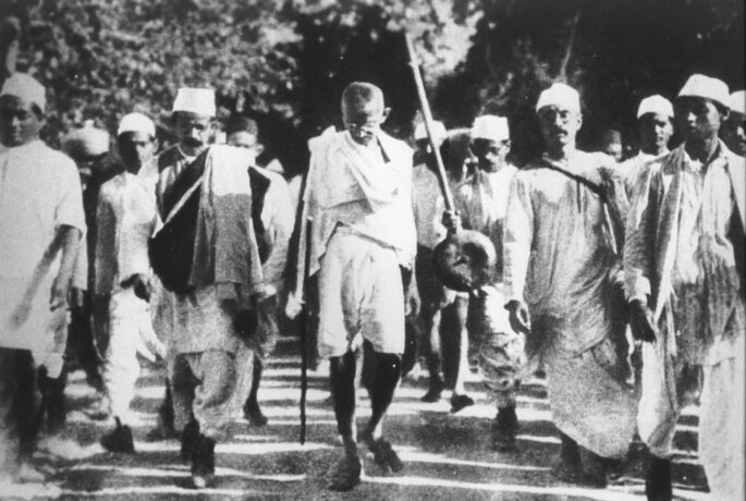 12th March 1930: Gandhi begins the Salt March to peacefully protest against the British Salt Monopoly .